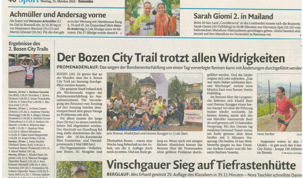 Dolomiten City Trail 21-10-2019